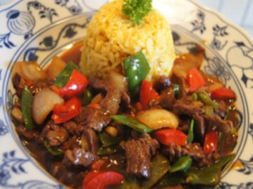 Rindfleisch mit Gemüse aus dem Wok mit Curryreis - Rezept - Bild Nr. 2