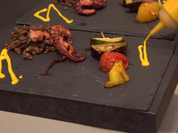 Pulpo Sous-vide mit Linsen, Safranjoghurt und mediterranem Gemüse - Rezept - Bild Nr. 2