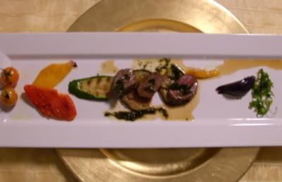 Salat von mediterranem Gemüse mit Lammfilet und Rucolasoße - Rezept