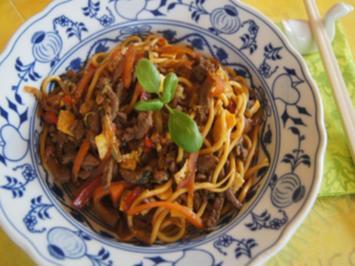 Rezept: Asiatische Nudeln mit Rindfleisch