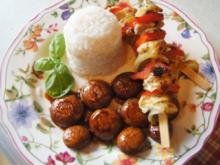 Hähnchen-Gemüse-Spieße mit Champignons und Basmatireis - Rezept - Bild Nr. 2