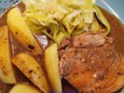 Schweinebraten; Porree Gemüse und Salzkartoffel - Rezept - Bild Nr. 2