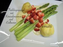 Frühlingsspargel mit Käse Sahne Sauce und Erdbeeren - Rezept - Bild Nr. 2
