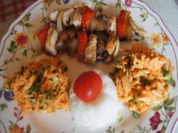 Puten-Gemüse-Spieße mit Ingwer-Möhren-Salat und Kokosreis - Rezept - Bild Nr. 2