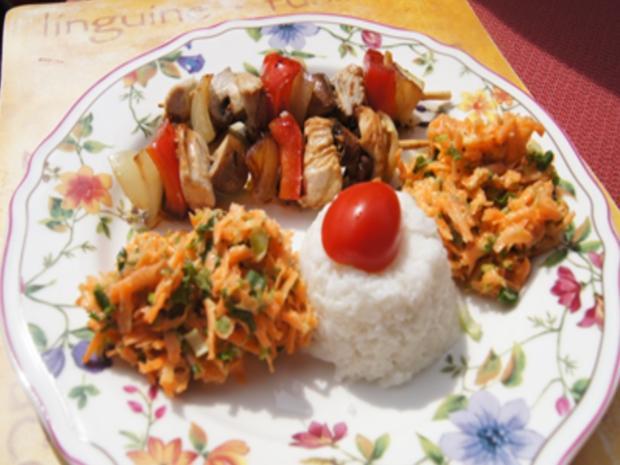 Puten-Gemüse-Spieße mit Ingwer-Möhren-Salat und Kokosreis - Rezept - Bild Nr. 23
