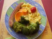 Bratwurst mit Brokkoli und Kartoffelstampf - Rezept - Bild Nr. 2