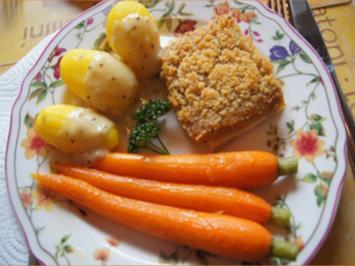 Schlemmerfilet mit Honig-Bundmöhren, Senfsauce und Kartoffeln - Rezept - Bild Nr. 2