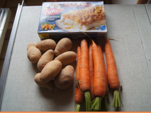 Schlemmerfilet mit Honig-Bundmöhren, Senfsauce und Kartoffeln - Rezept - Bild Nr. 3