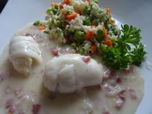 Schollenfilet-Röllchen in Specksoße mit Gemüsereis - Rezept - Bild Nr. 2