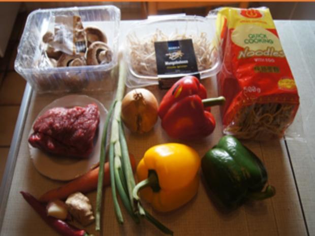 Rindfleischstreifen mit Gemüsemix und Mie-Nudeln - Rezept - Bild Nr. 3