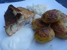 Dorade mit Lachs-Farce-Füllung.... Rettich-Salat und Kräuter-Drillingen - Rezept - Bild Nr. 2