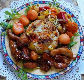 Süß-sauer-scharfes Hühnerfleisch mit Papaya und gebratenem Reis - Rezept - Bild Nr. 2