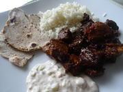 Vindaloo-Curry mit Gurken-Raita, Reis  und Chapati - Rezept - Bild Nr. 10513