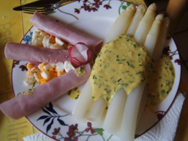 Spargel mit Kochschinken und pikanter Crème fraîche Sauce - Rezept - Bild Nr. 2