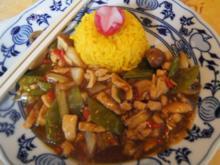 Chili-Hähnchenbrustfilet mit Gemüse im Wok und gelber Basmatireis - Rezept - Bild Nr. 2