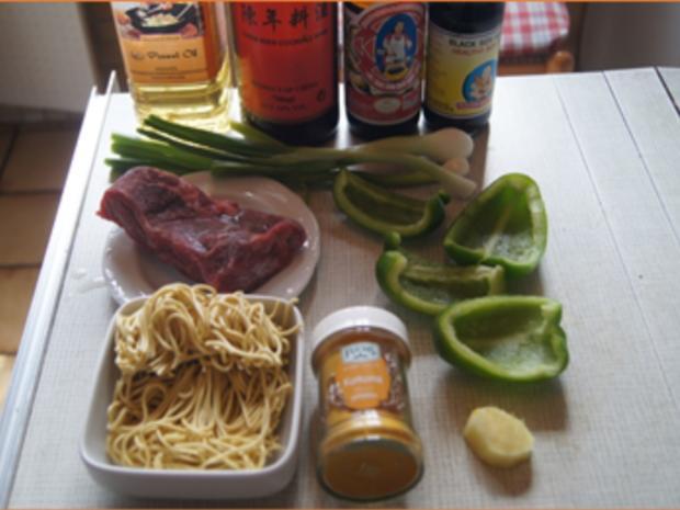 Gebratenes Rindfleisch mit Austernsauce und Mie-Nudeln - Rezept - Bild Nr. 3