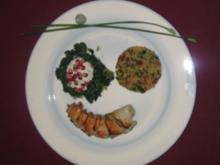 Dattel-Langusten und Granatapfel-Spinat mit Kardamom-Joghurt - Rezept