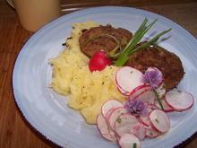 Fleisch-Pflanzerl mal anders +Kartoffelbrei +Radieserlsalat - Rezept - Bild Nr. 10675