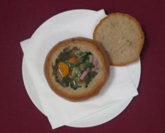Knoblauchsuppe im Brotteig - Rezept