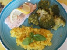 Lachsfilet mit Brokkoli und Selleriestampf - Rezept - Bild Nr. 2
