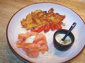 Rezept: Kartoffelpuffer mit geräucherter Lachs mit Dip