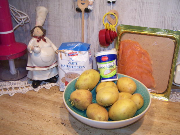 Kartoffelpuffer mit geräucherter Lachs mit Dip - Rezept - Bild Nr. 3