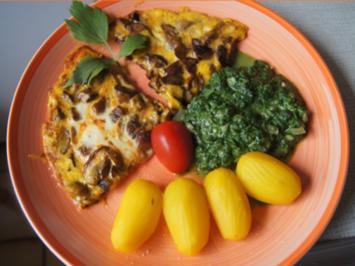 Steinpilz-Omelett mit Rahmspinat und Drillingen - Rezept - Bild Nr. 2