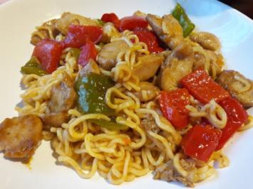 Rezept: Nudeln Süss-sauer mit Hähnchenfleisch