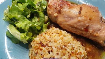 Rezept: Geflügel - Sosse - Blumenkohlreis - Salat
