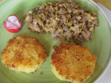 Rinderhackfleisch-Lauch-Pfanne mit Kartoffelstampf-Rösti - Rezept - Bild Nr. 2