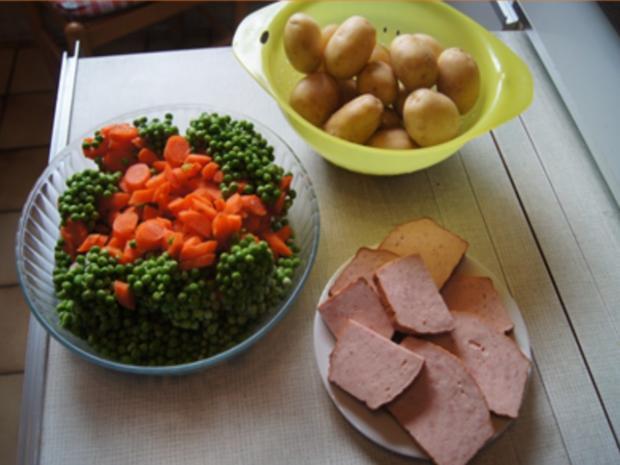 Gebratener Leberkäse mit Erbsen-Möhren-Gemüse und Kartoffeln - Rezept - Bild Nr. 3