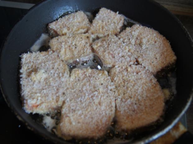 Gebratener Leberkäse mit Erbsen-Möhren-Gemüse und Kartoffeln - Rezept - Bild Nr. 4