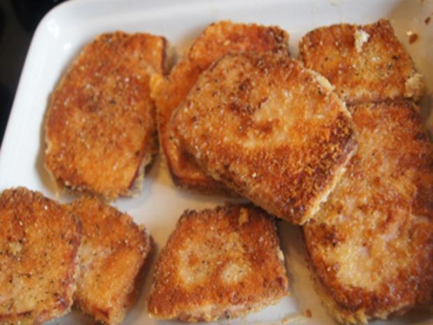 Gebratener Leberkäse mit Erbsen-Möhren-Gemüse und Kartoffeln - Rezept - Bild Nr. 8