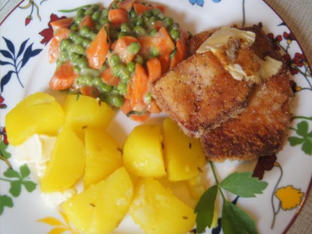 Gebratener Leberkäse mit Erbsen-Möhren-Gemüse und Kartoffeln - Rezept - Bild Nr. 18