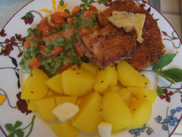 Gebratener Leberkäse mit Erbsen-Möhren-Gemüse und Kartoffeln - Rezept - Bild Nr. 20