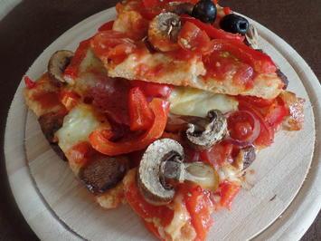 Pizza-Salami mit Gemüse und Oliven - Rezept - Bild Nr. 10813