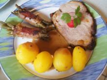 Gegrillter Schweinenacken mit Sauce, Schinken-Buschbohnen und Drillingen - Rezept - Bild Nr. 2