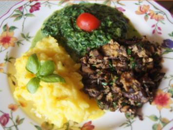 Steinpilze mit Eiern, Rahmspinat und Kartoffelstampf - Rezept - Bild Nr. 2