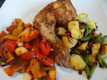 Hühnerschenkel, Kartoffel-Bohnen-Pfanne und Paprika-Gemüse - Rezept - Bild Nr. 2