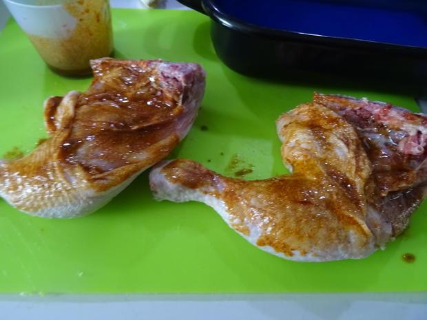 Hühnerschenkel, Kartoffel-Bohnen-Pfanne und Paprika-Gemüse - Rezept - Bild Nr. 5