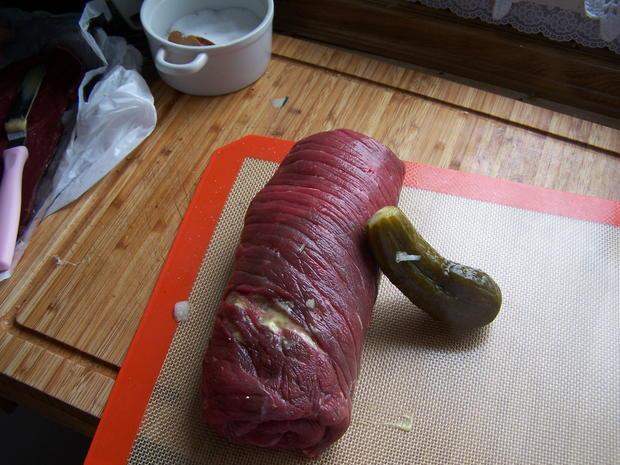 Rouladen-Rollbraten mit Kartoffelstampf +Gurkensalat - Rezept - Bild Nr. 10922
