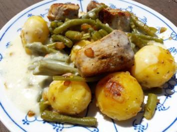 Schweinefilet mit Grünen Bohnen und einer hellen Soße - Rezept - Bild Nr. 2