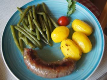 Schwartenwurst mit Buschbohnen und Kartoffeln - Rezept - Bild Nr. 2