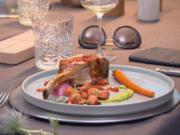 Kalbskarree mit Rote-Bete-Gnocchi an Erbsen-Minze-Püree und Tomatensauce - Rezept - Bild Nr. 11009