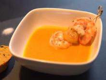 Süßkartoffelsuppe mit Garnelen-Ananasspieß und Kürbisbrot - Rezept - Bild Nr. 3