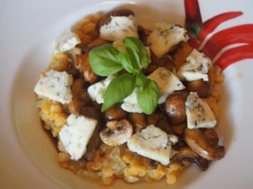 Pasta-Teller mit roten Linsen und braunen Champignons - Rezept - Bild Nr. 2