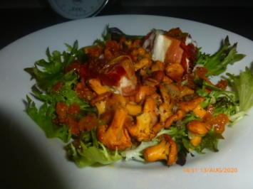 Pfifferlingssalat mit Ziegenkäse im Schinkenmantel - Rezept - Bild Nr. 11131