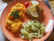 Fischfilet Bordelaise mit chinesischen Gurkensalat und Möhren-Kartoffel-Stampf - Rezept - Bild Nr. 2