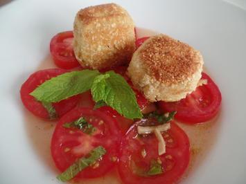 Gebackene Ziegenkäsetaler auf Tomatensalat - Rezept - Bild Nr. 11150