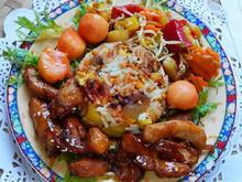 Hühnerbrust mit gebratenem Reis und Papaya - Rezept - Bild Nr. 2